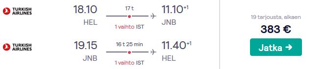 Lennot Johannesburgiin
